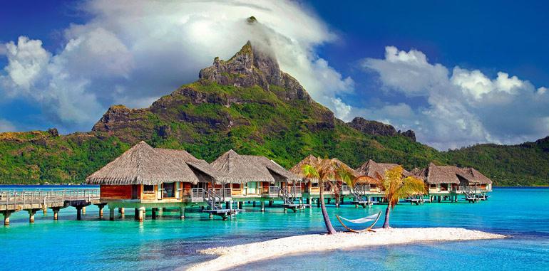 Beautiful tropical hut on the beach